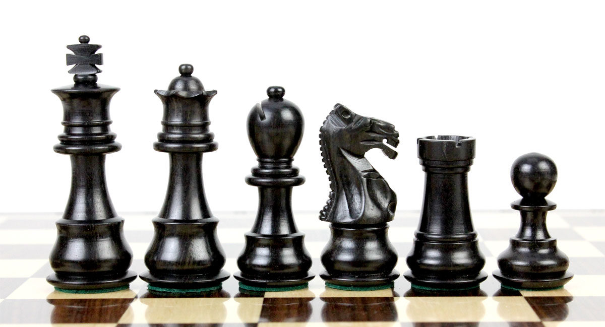 "Ebony wood/Boxwood Chess Set Pieces Galaxy Staunton 3"" + 15"" Wenge Wood Flat Chess Board"