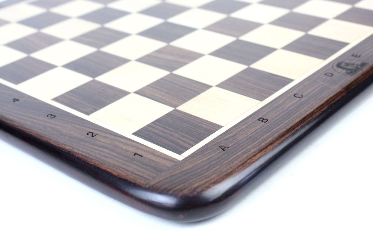 All the 4 sides and corners of this Rosewood Chess Boards have rounded edges