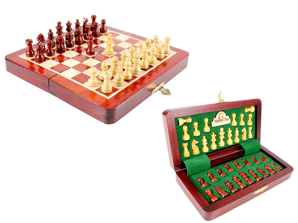 "7.5"" Wooden Chess Set Travel Magnetic Folding Board Bud Rosewood + 2 Extra Queens"