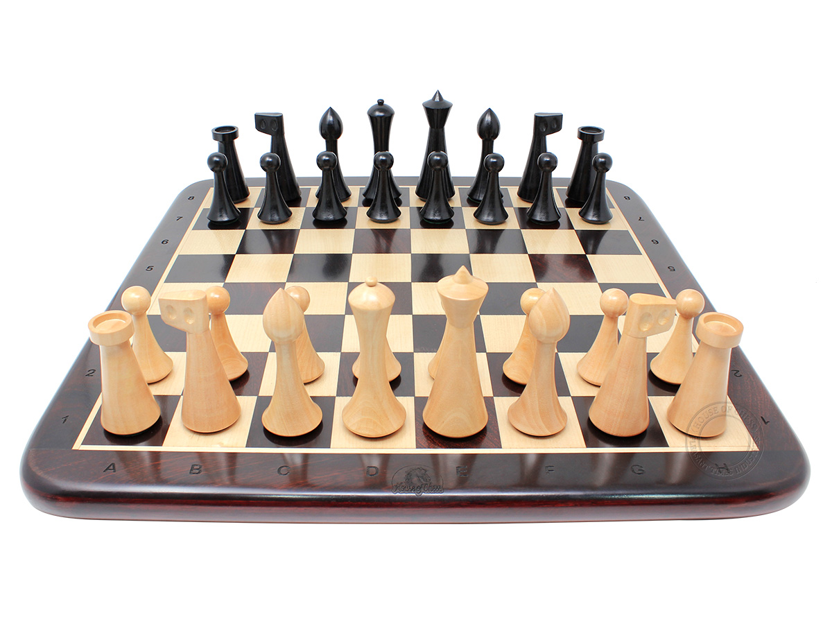 "House of Chess Reproduced Abstract Design 3.75"" Ebonized Chess Pieces + 17"" Ringy Rosewood Chess Board"