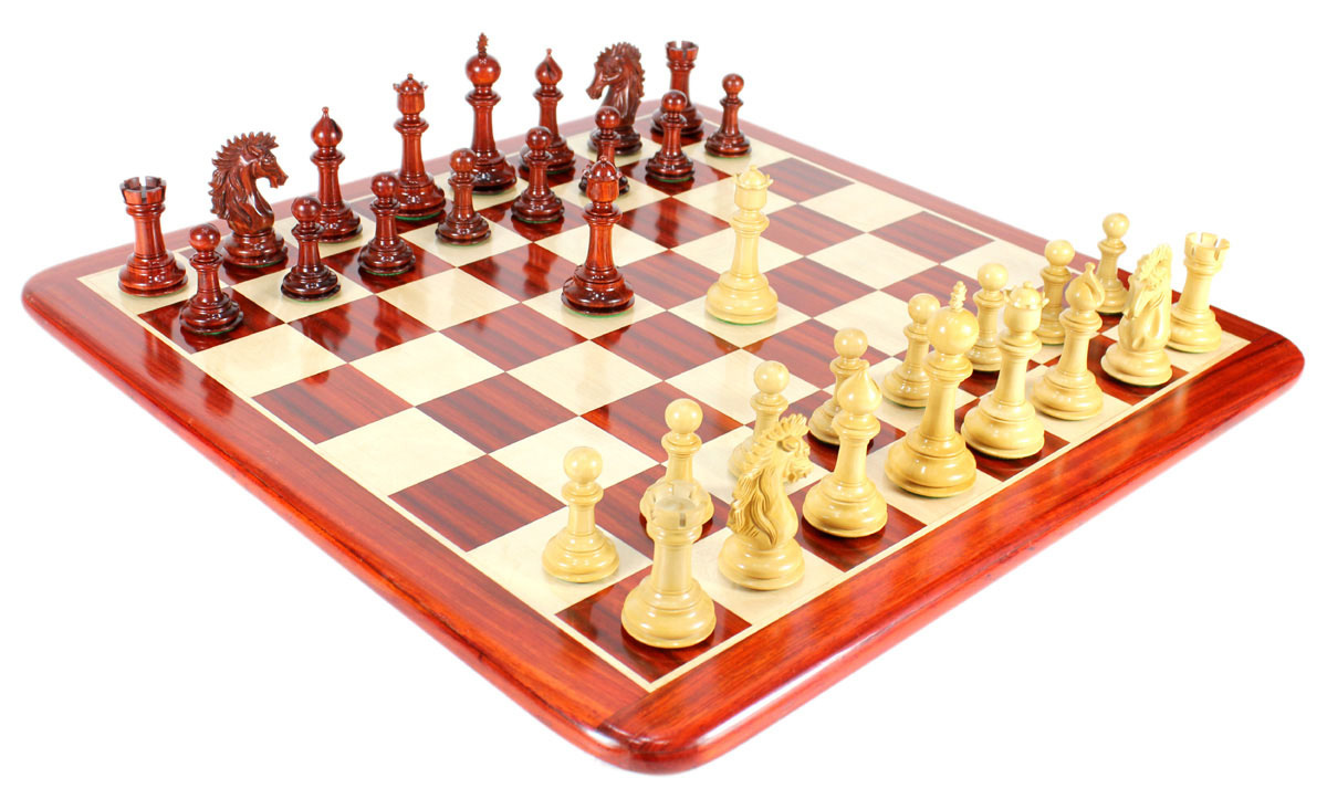 "Bud Rose Wood Encore Staunton Wooden Chess Set Pieces 4.5"" + 23"" Matching Board + Box"