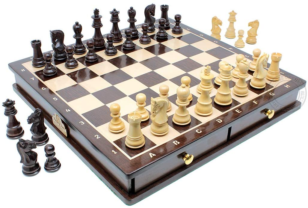 "Rosewood / Boxwood Chess Set Pieces Galaxy Staunton 3"" (76 mm) with 15"" Rosewood Board + 2 Extra Queens, 4 Extra Knights & 2 Extra Pawns"