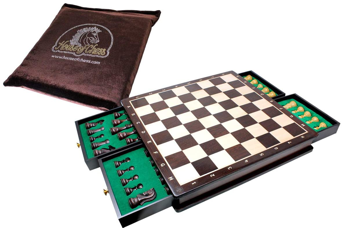 "Beautiful Chess Board with matching 3"" Rosewood / Boxwood Galaxy Staunton chess pieces"