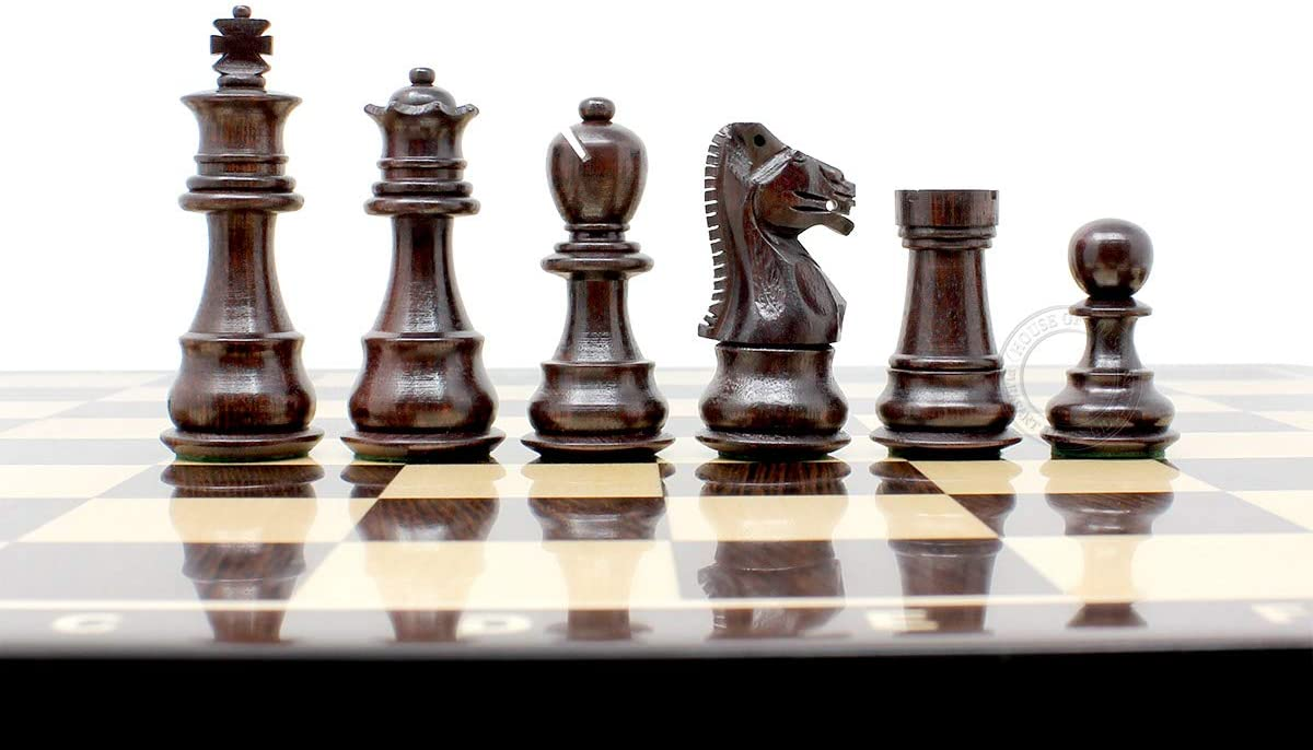 Beautiful Rosewood chess pieces with beveled bases.