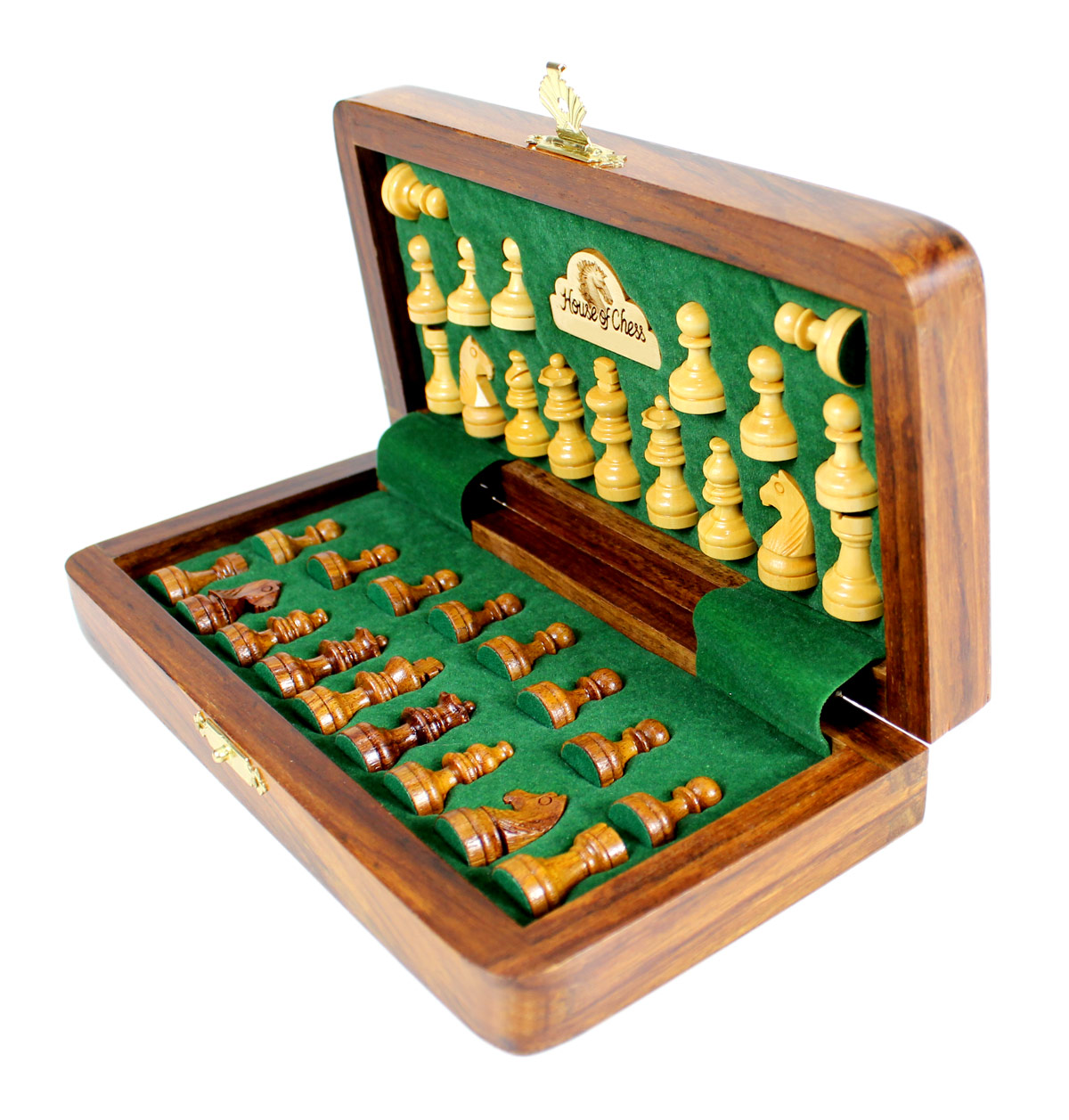 All chess pieces have felted bottom.  The weight of the chess set is 1.124 lbs (510 grams)