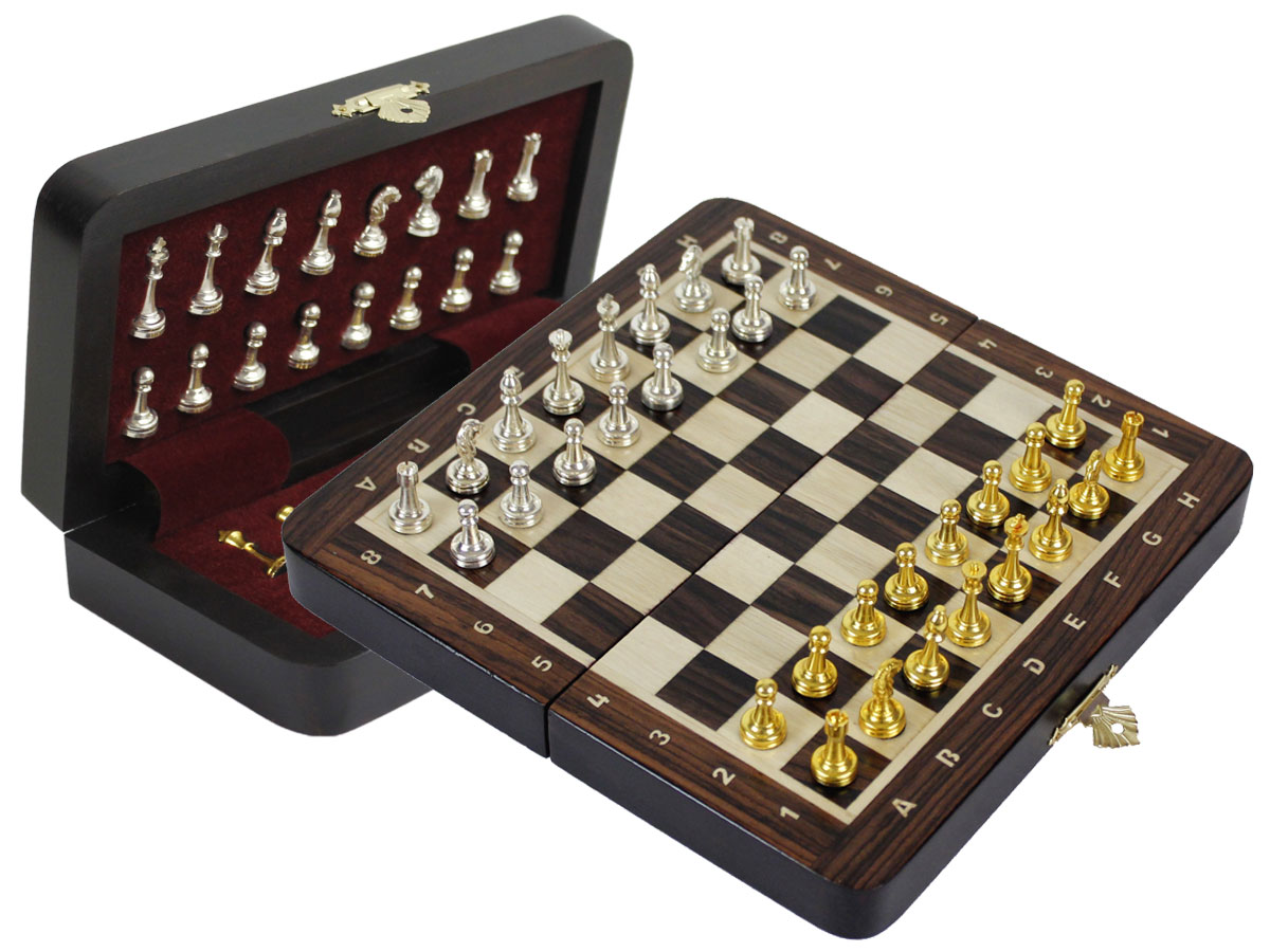 "Metal Wood Chess Set Magnetic Folding 9"" with Inlaid Algebraic Notations Rosewood/Maple"