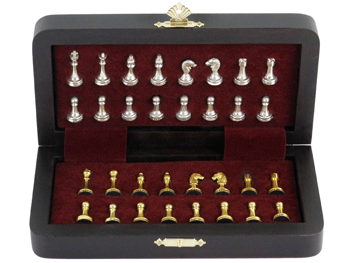 Inner view of chess box with pieces fitted inside