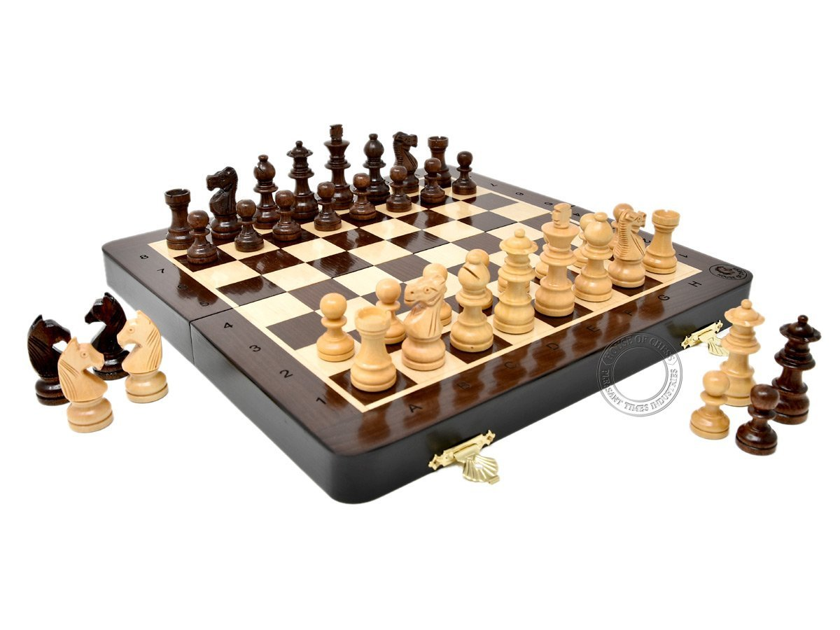 10 Inch Wooden Magnetic Folding Travel Chess Set / Board with 2 Extra Knights, 2 Extra Pawns, 2 Extra Queens and Algebraic Notation - Handmade - Premium Quality