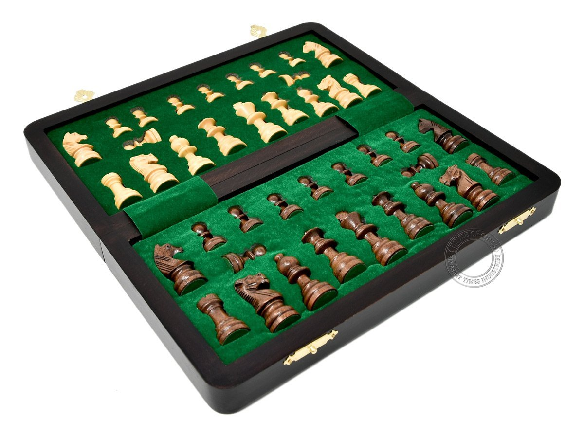 Inner view of flat chess box with chess pieces