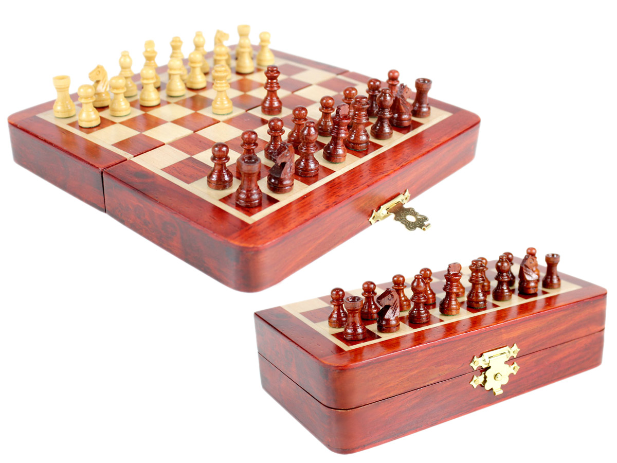 "5"" Wooden Chess Set Travel Magnetic Folding Board Bud Rosewood + 2 Extra Queens"