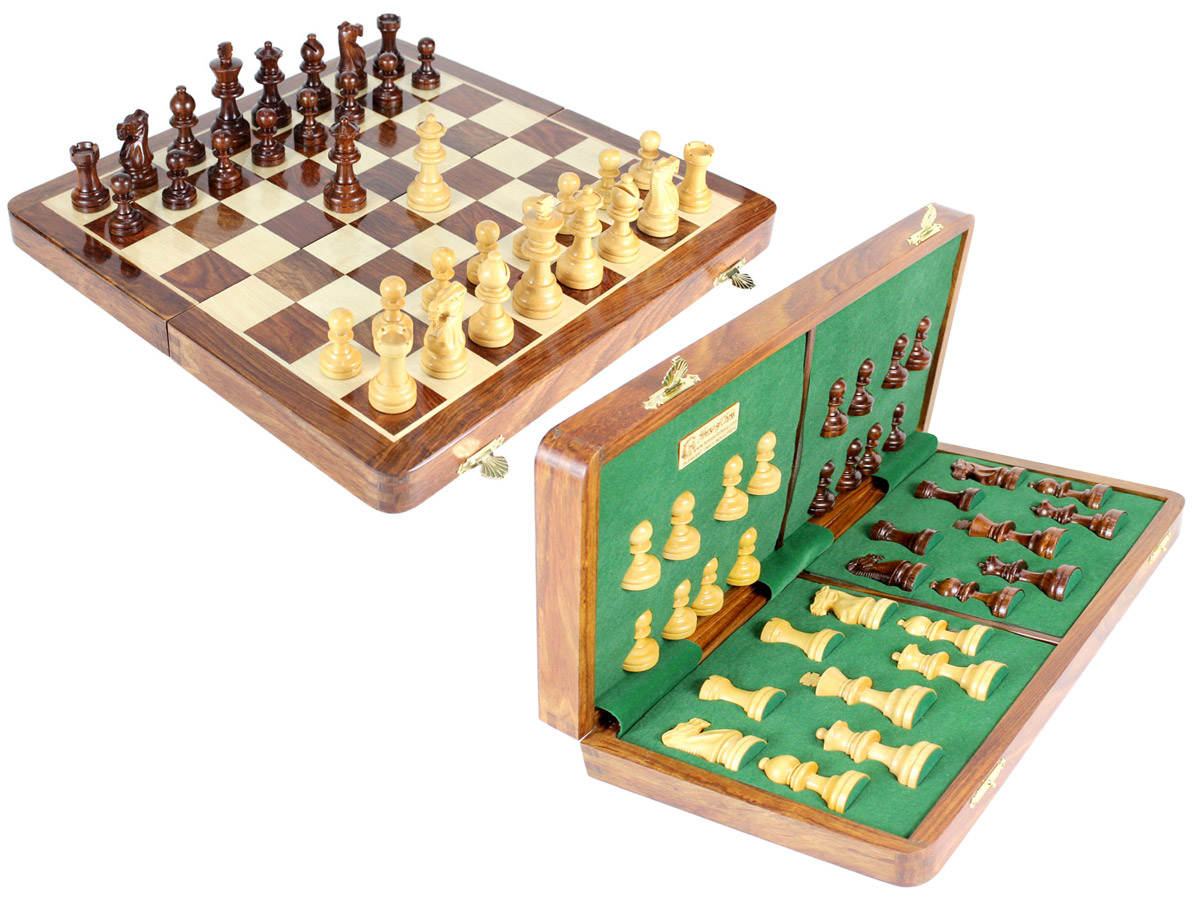 "Club Chess Set Wood Magnetic Folding 16"" Golden Rosewood/Maple King Size 3"" + 2 Extra Queens"