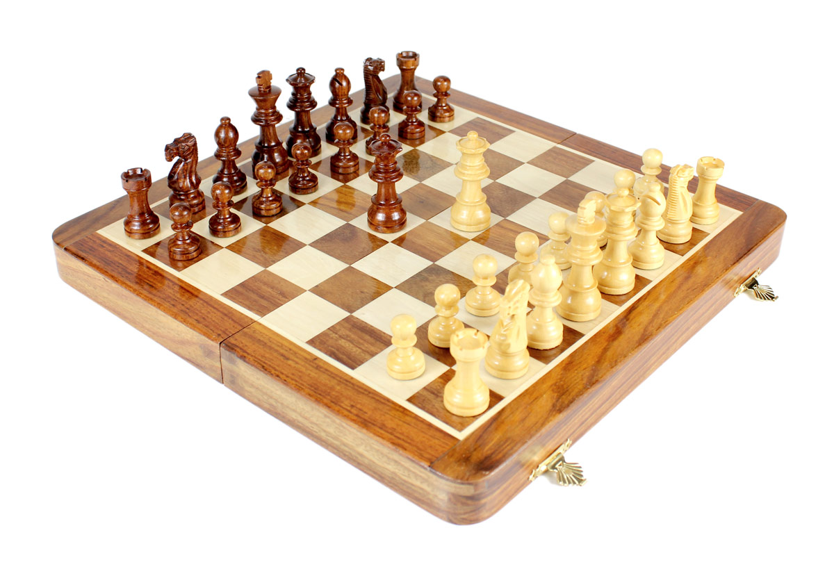 """12/"""" Wooden Magnetic Chess set Travel Sheesham wood Golden Rosewood Extra Queen"""