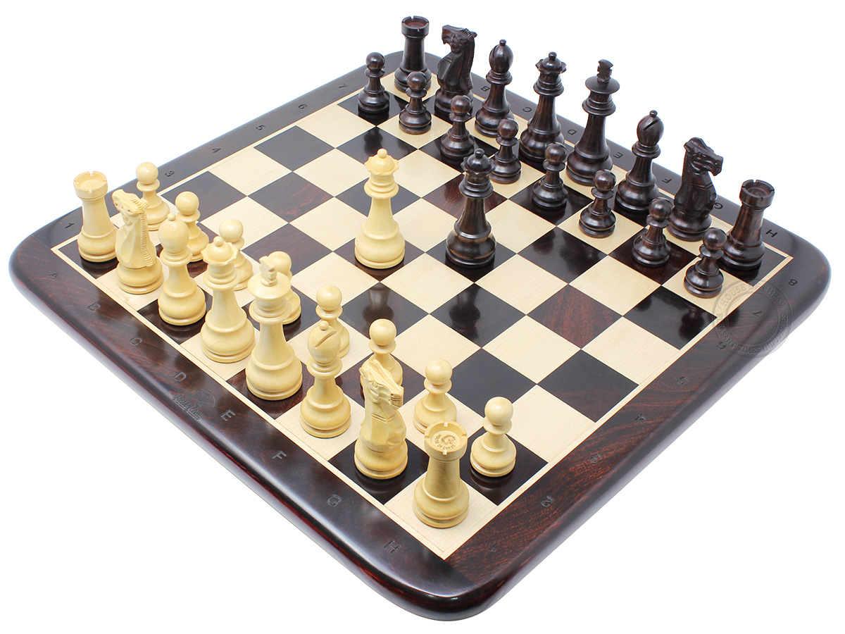 "Unique Staunton 3.75"" King Height Ringy Rosewood Weighted Chess Set and 17"" Flat Chess Board with Algebraic Notations - 2 Extra Queens"