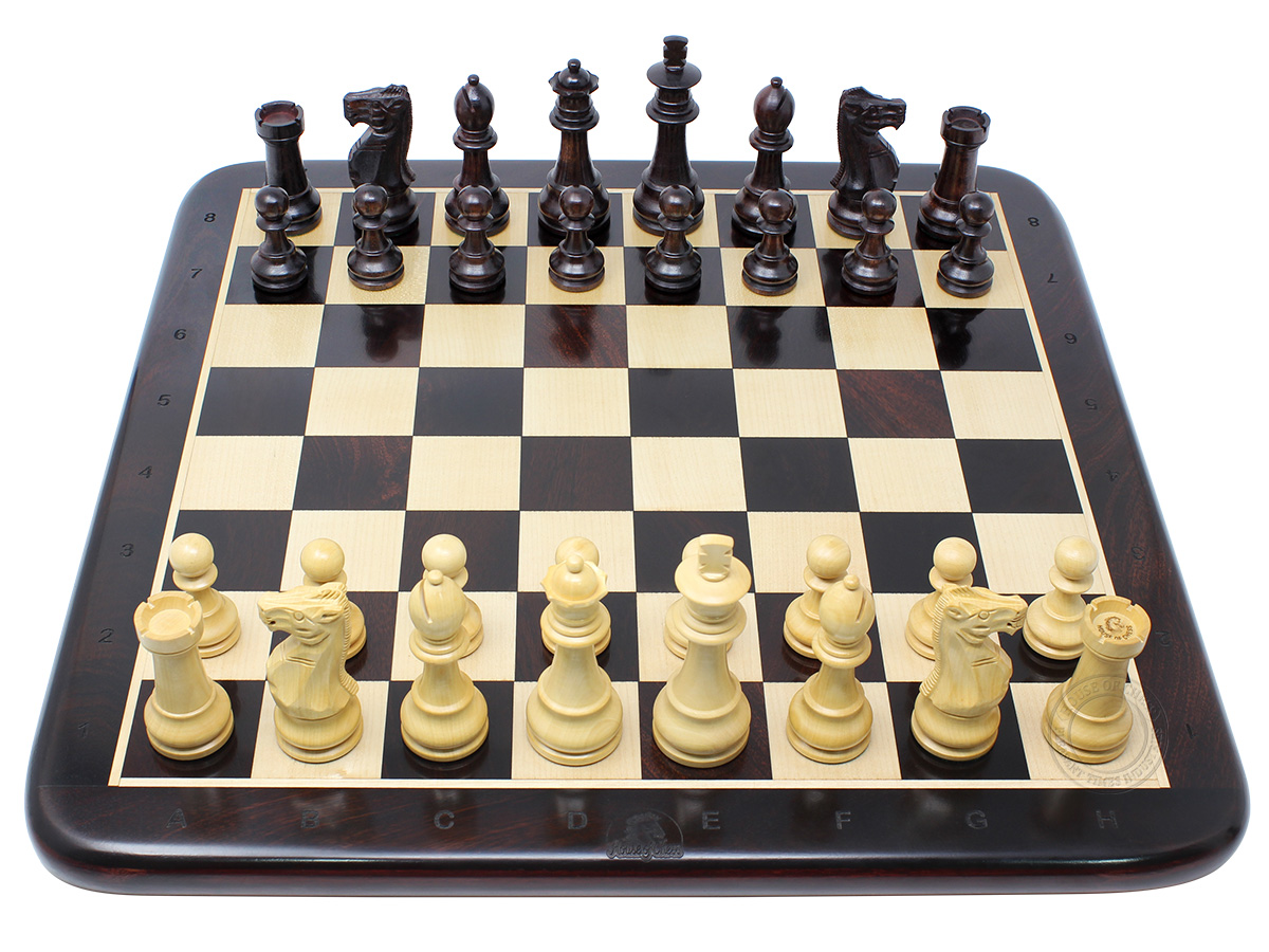 "Unique Staunton 3.75"" King Height Ringy Rosewood Chess Set and 17"" Flat Chess Board with Algebraic Notations - 2 Extra Queens"