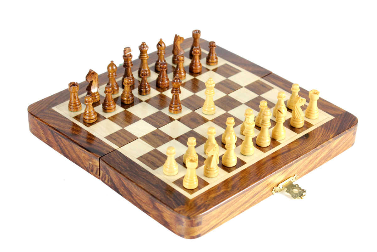 "6.25"" Folding chess board ideal for travelling purpose. King Height - 1.12"" (28mm) King Base - 0.35"" (9mm)"