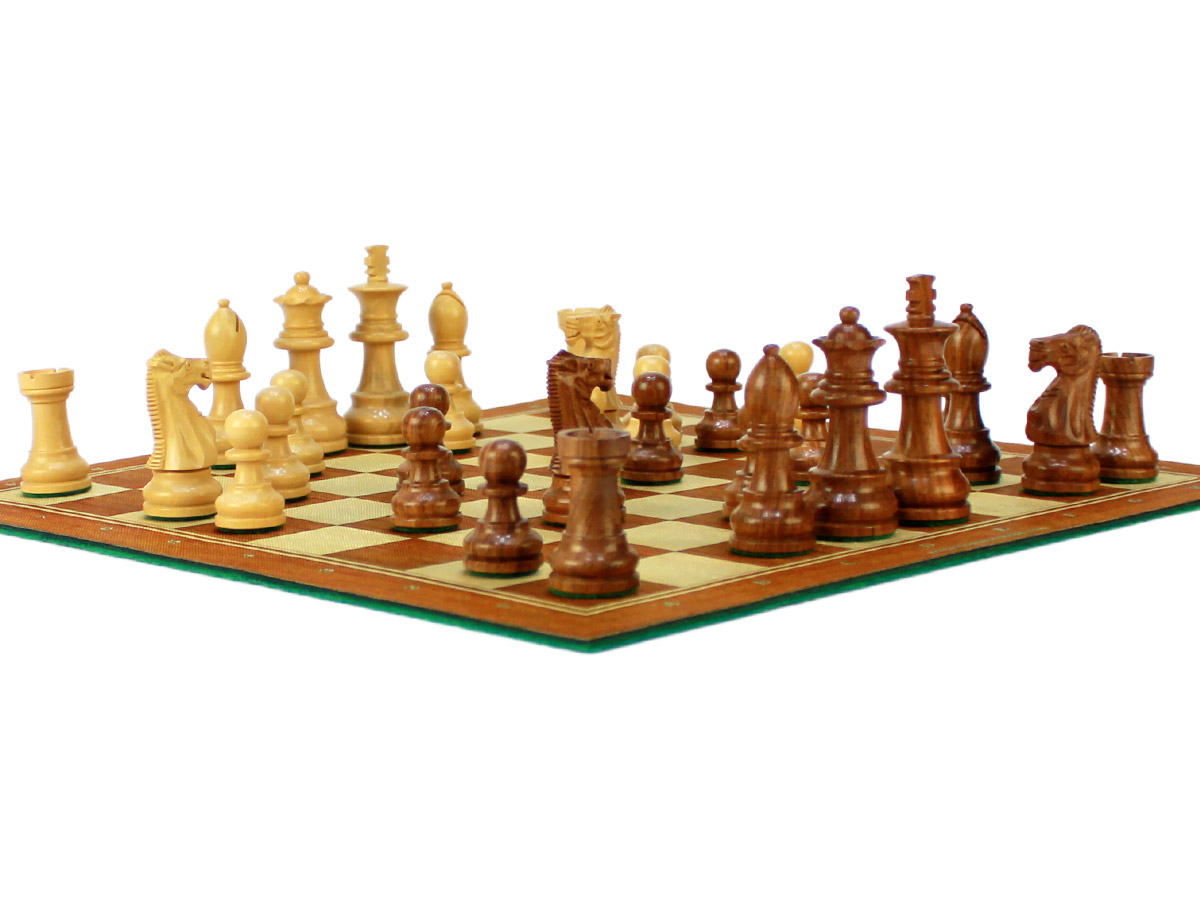 Side view of chess board with Unique Staunton Wooden pieces