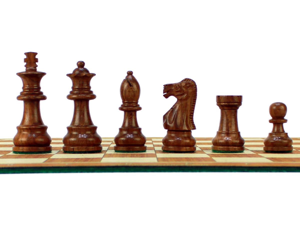 Unique Staunton Golden Rosewood Chess Pieces