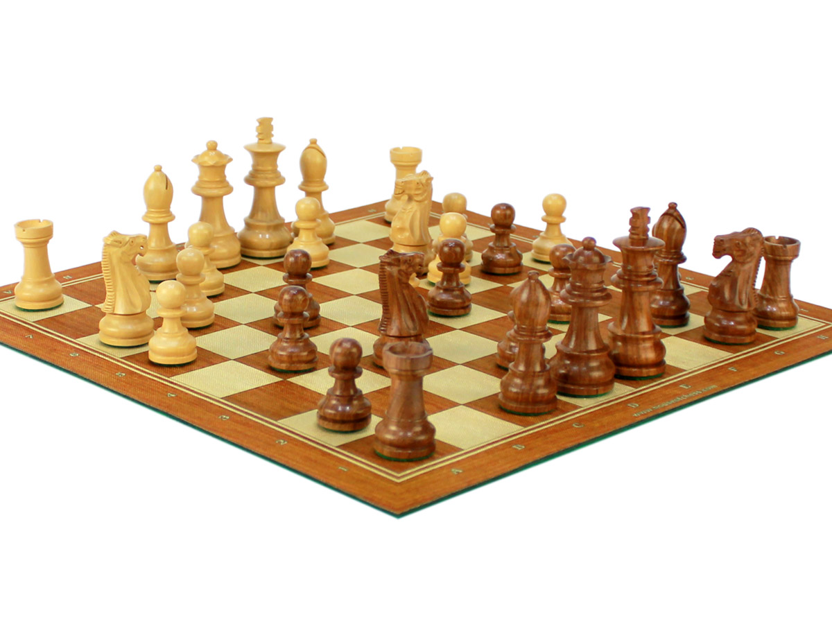 Unique Staunton Wooden Chess Pieces on Roll Up Chess Board