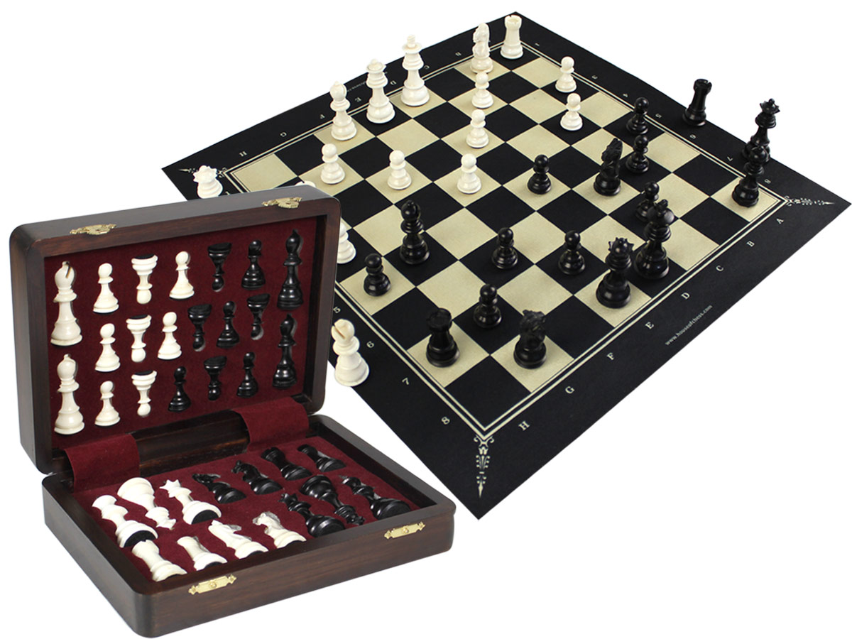 "Emperor Staunton Camel Bone 3"" Chess Pieces & 18"" Fabric Chess Board with Wenge Colored Presentation Chess Box"