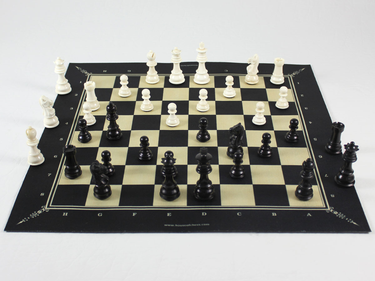 Foldable Fabric Chess Board with Camel Bone Chess Pieces