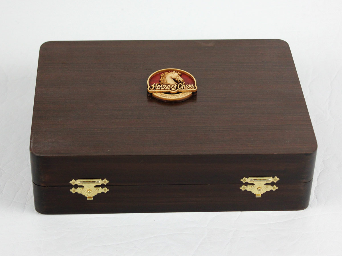 Wenge Colored Wooden Presentation Chess Box with Logo