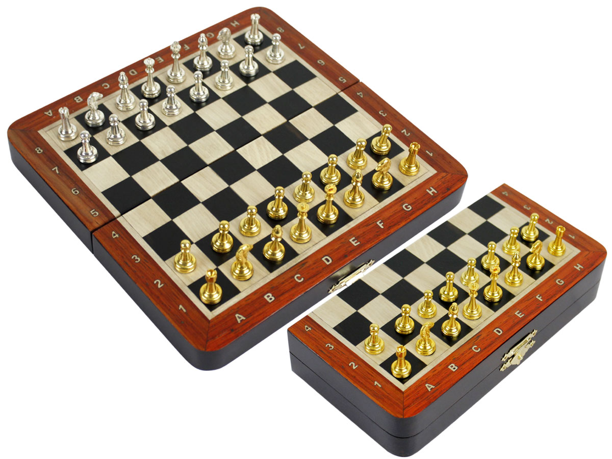 "Metal Wood Chess Set Magnetic Folding 9"" with Inlaid Algebraic Notations Ebony/Maple & Bloodwood Border"
