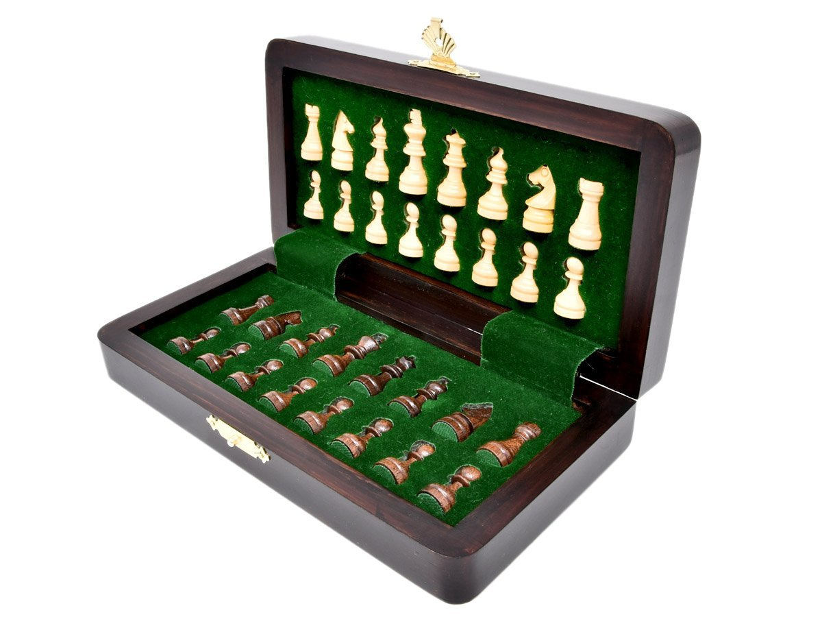 Inner view of chess box with individual chessmen inserts