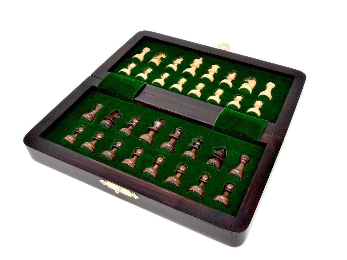 Flat layout of chess board with inner view of chessmen inserts