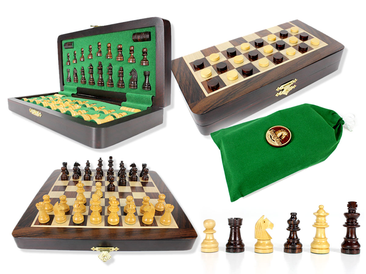 "Travel Magnetic Chess Set Folding 9"" with 2 Extra Queens, Pawns & Checkers Rosewood/Maple"
