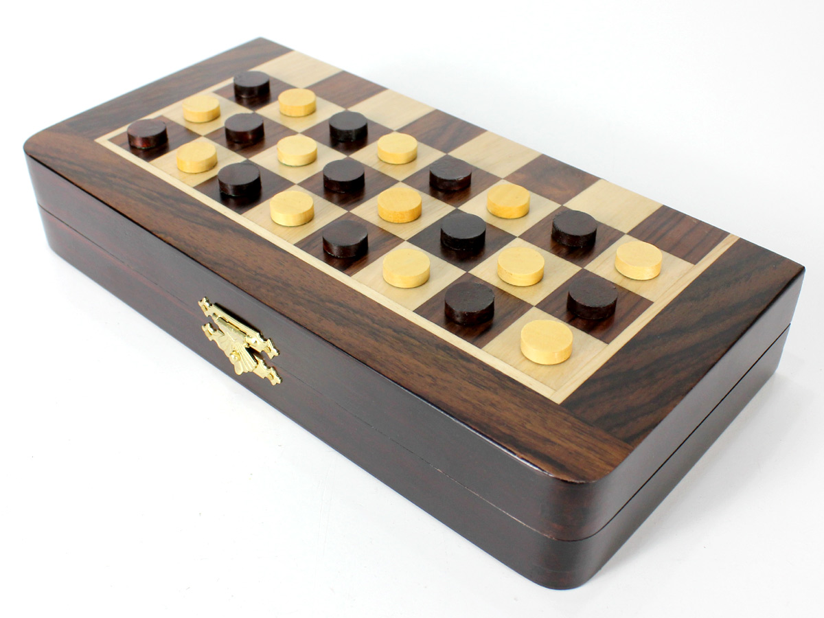 Front view of half folded chess board with checkers
