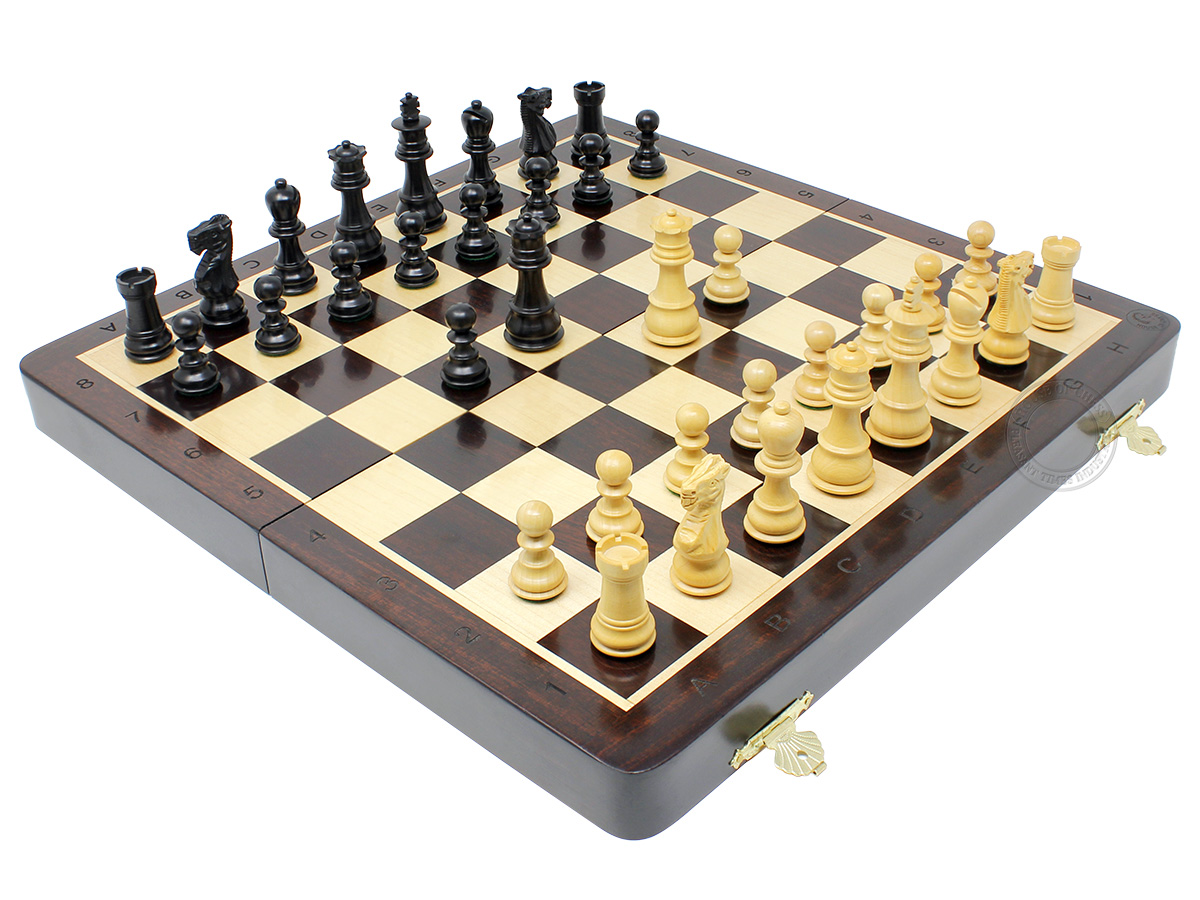 "Wooden Folding Chess Set / Board - 14"" in Ringy Rosewood with Galaxy Staunton 2.75"" Weighted Chess Pieces in Ebony Wood + 2 Extra Queens & Pawns + Algebraic Notation"