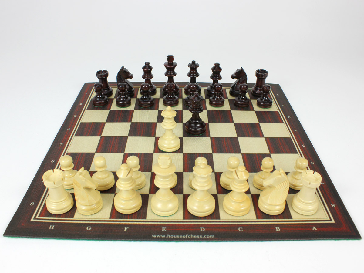 Louis Staunton Chess Pieces on rollup board