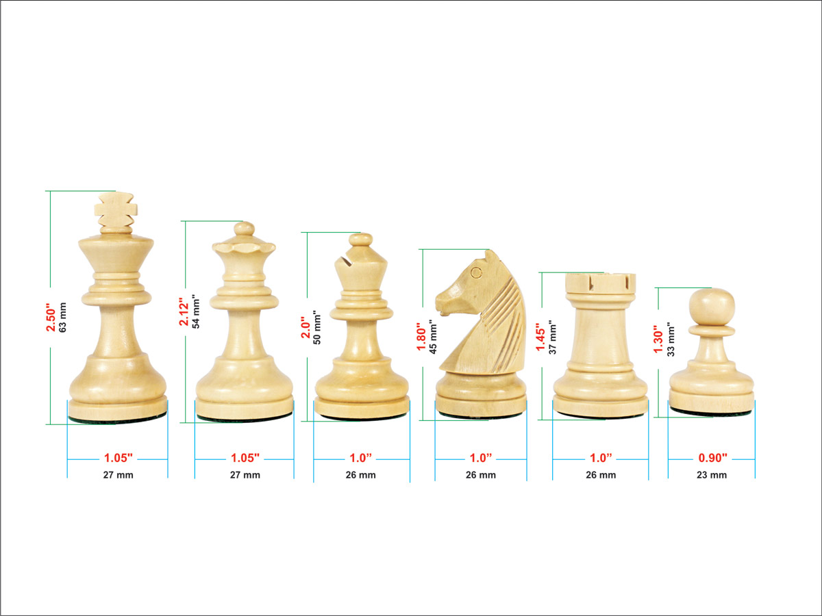 Dimensions of each chess piece