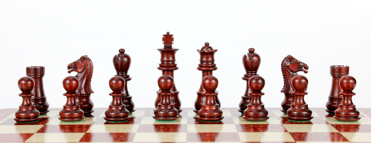 All chess pieces are triple weighted. Total weight of the chess pieces is 1.675 lbs (760 grams).