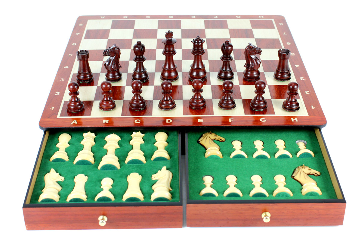"15"" x 15"" Bud Rosewood Chess board with inlaid Algebraic notations. Square size - 1.65"" (42mm)"