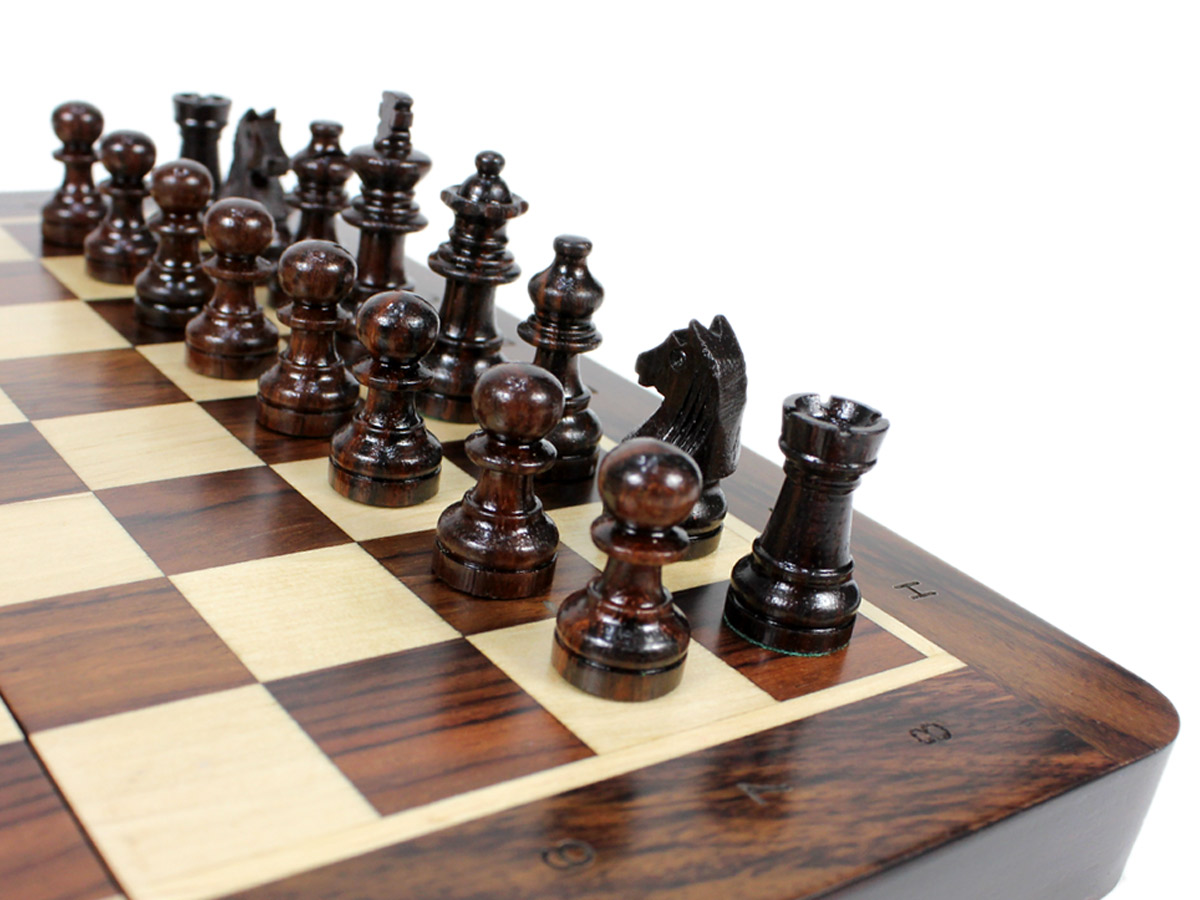 Close up view of Rosewood chess pieces