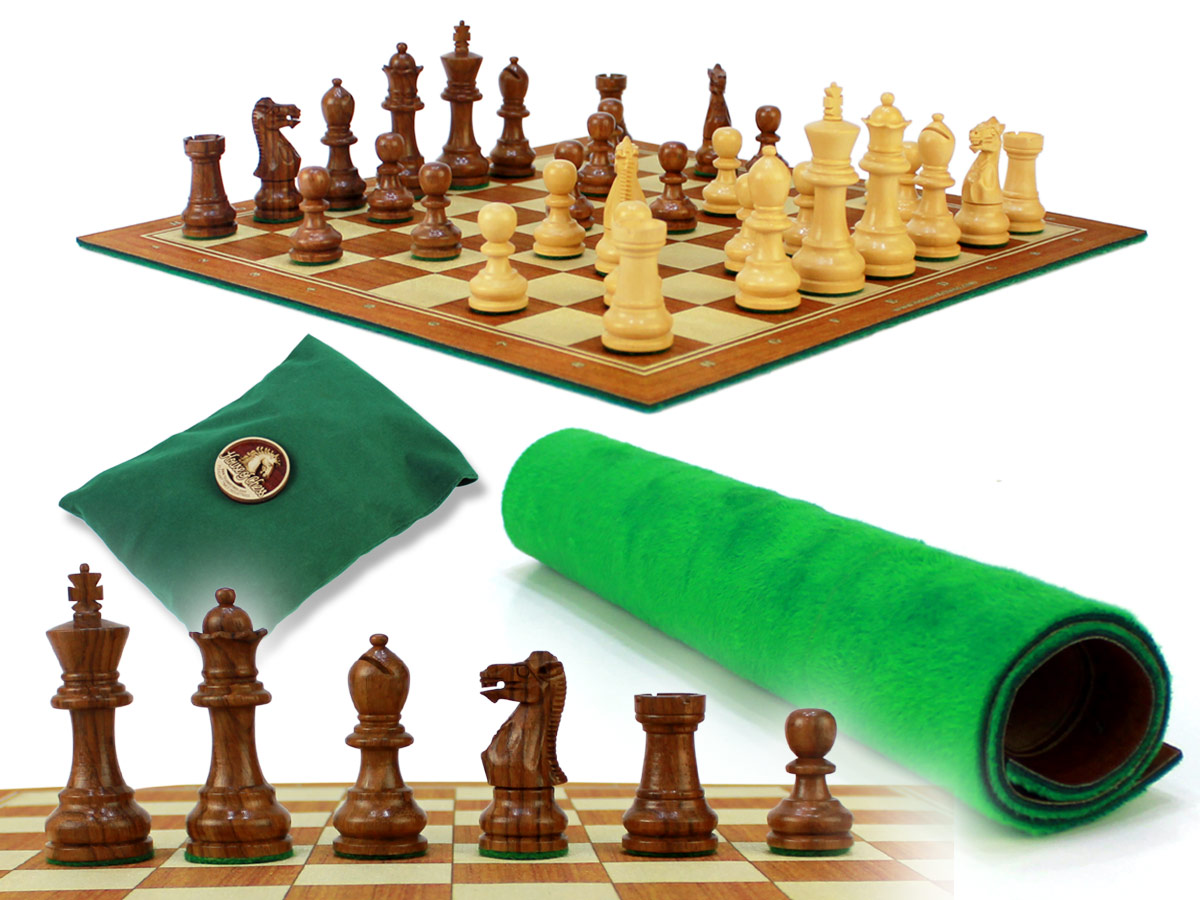 "Monarch Staunton Chess Pieces 2-3/4"" with Wood Tex Roll up 13"" Chess Board and Velvet Pouch with Logo"