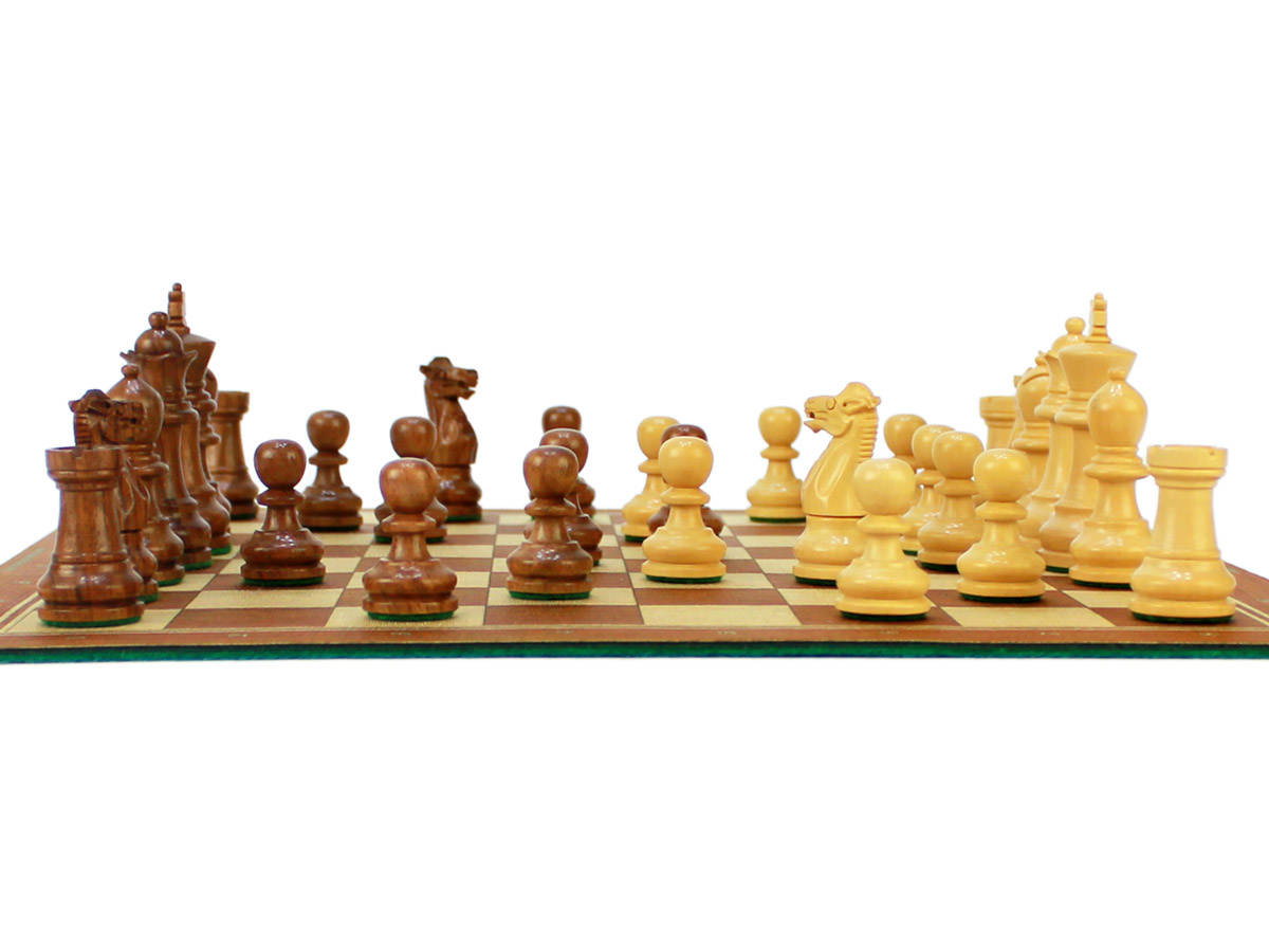 """Wooden Weighted Chess Pieces of King Height 2-3/4"""" on 13"""" chess board"""