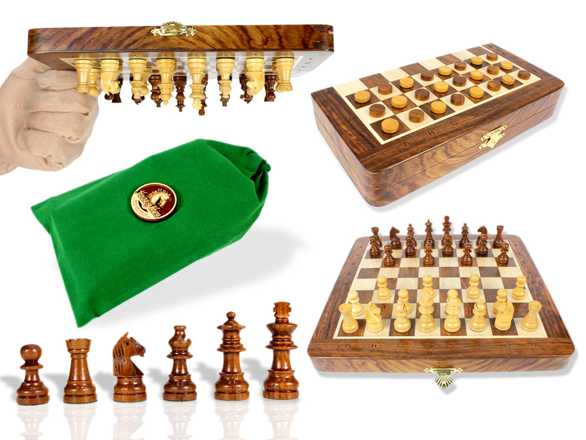 "Travel Magnetic Chess Set Folding 9"" with 2 Extra Queens, Pawns & Checkers Golden Rosewood/Maple + Algebraic Notations"