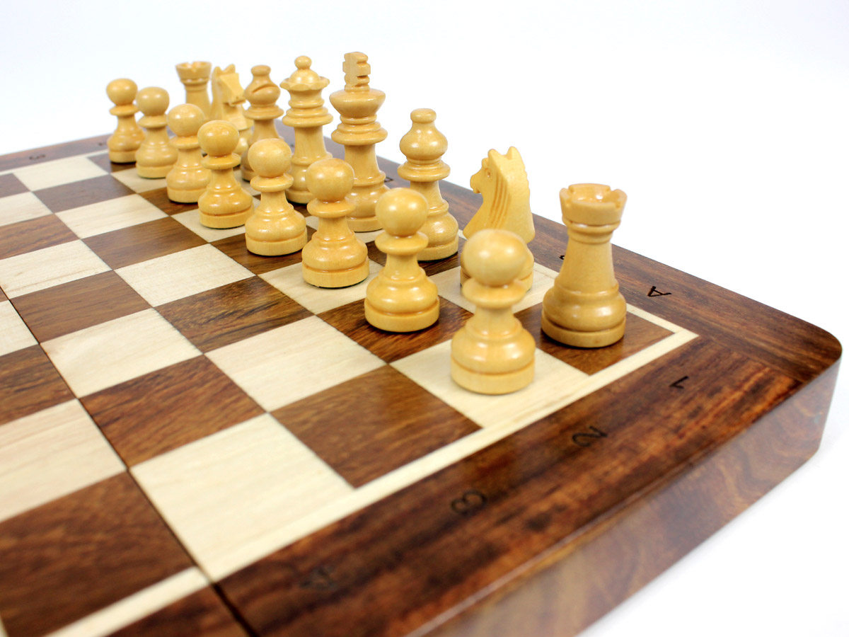 Close up view of Boxwood chess pieces