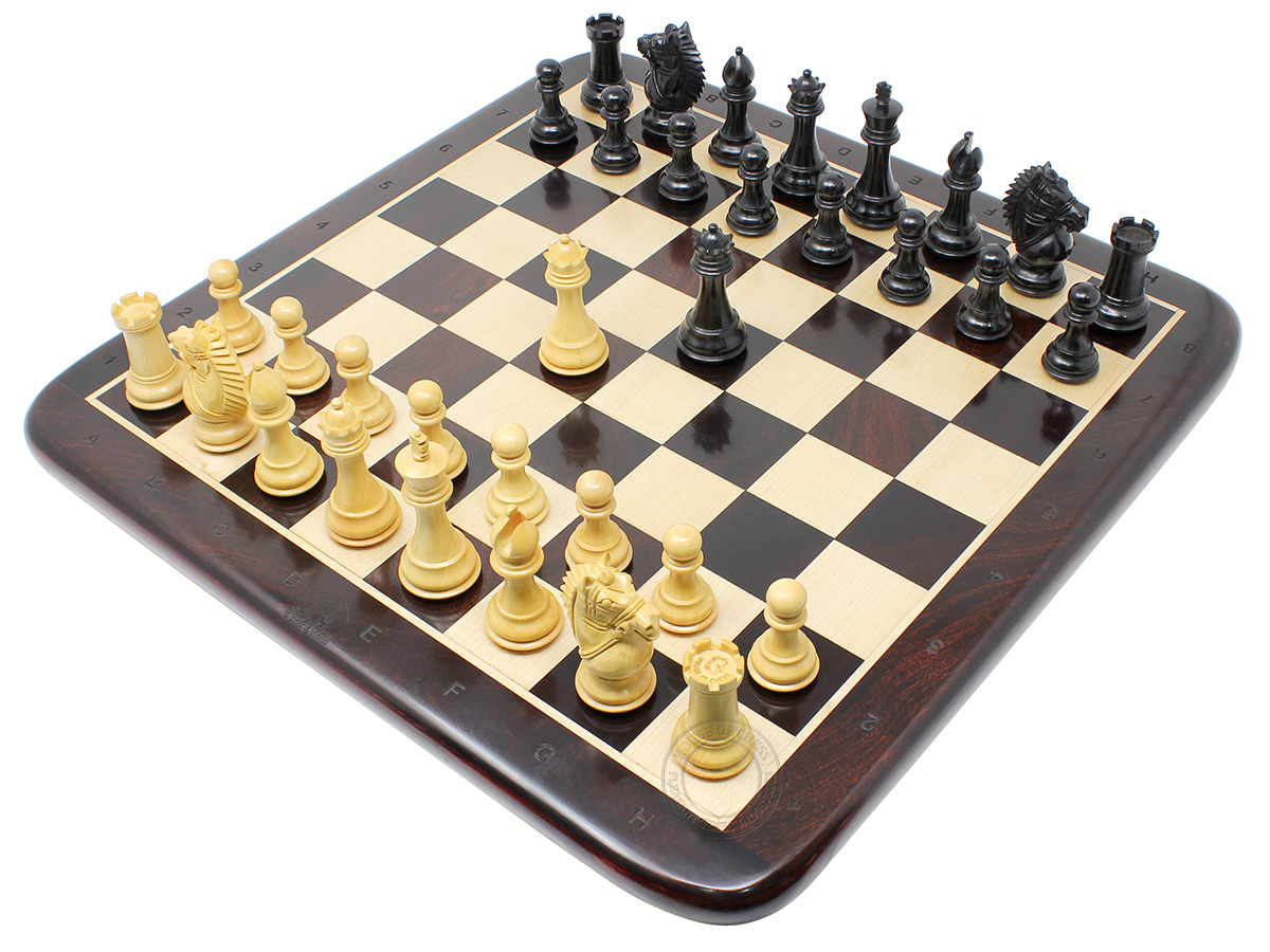 "Rio Staunton Biggie Knight Ebonized 3"" King Height - Chess Set - 17"" Ringy Rosewood Flat Chess Board with Algebraic Notation - 2 Extra Queens"