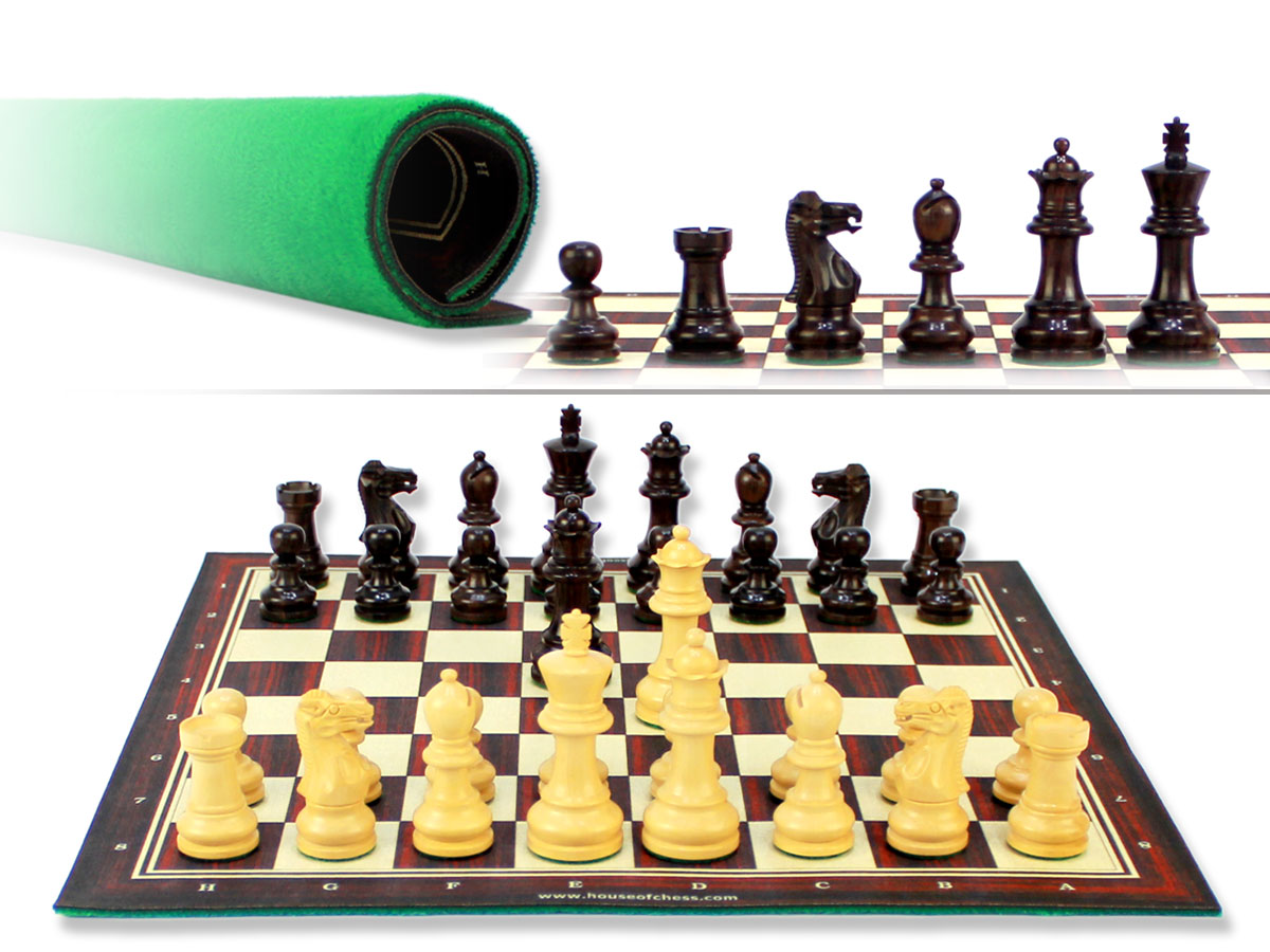 """Monarch Staunton Rosewood Chess Pieces 2-3/4"""" with Wood Tex Roll up 13"""" Chess Board and Velvet Pouch with Logo"""