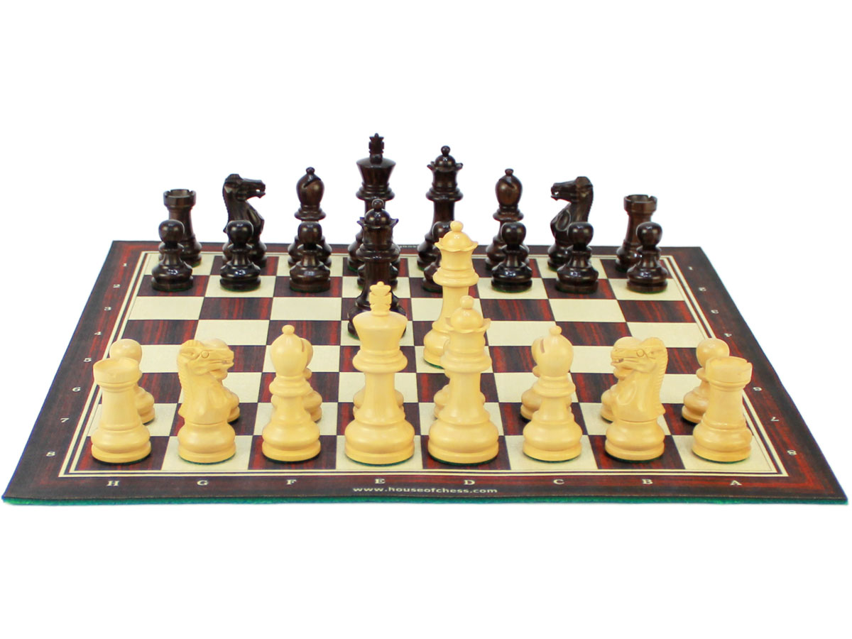 Monarch Chess Pieces on woodtex roll up chess boad