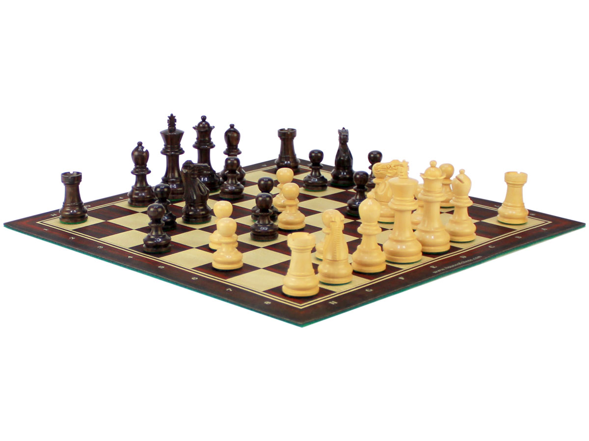 Wooden Chess Pieces + Rosewood Roll Up Chess Board