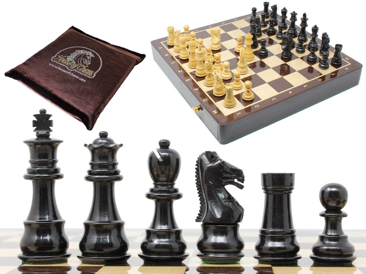 "Ebony Wood / Boxwood Chess Set Galaxy Staunton 3"" with 15"" x 15"" Wenge Wood Board + 2 Extra Queens, 4 Extra Knights & 2 Extra Pawns"