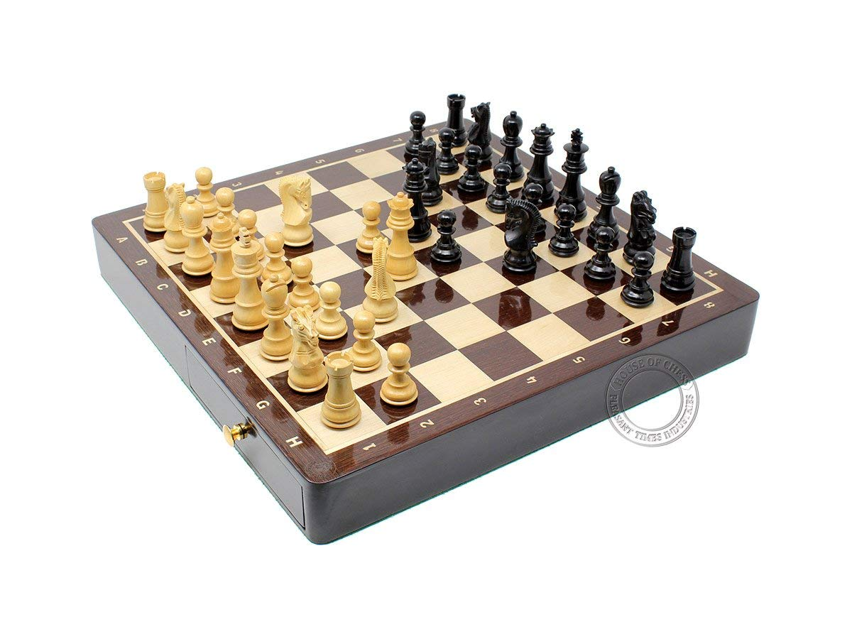 "Ebony Wood / Boxwood Chess Pieces on 15"" Wenge Wood board"