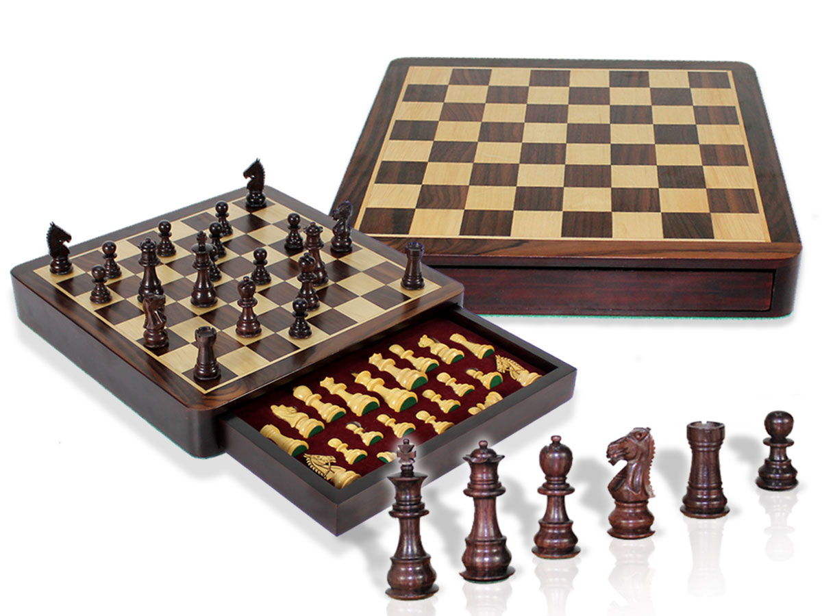 "Travel Chess Set Magnetic Drawer 12"" Rosewood/Maple with 2 Extra Queens, 4 Extra Knights & 2 Extra Pawns"
