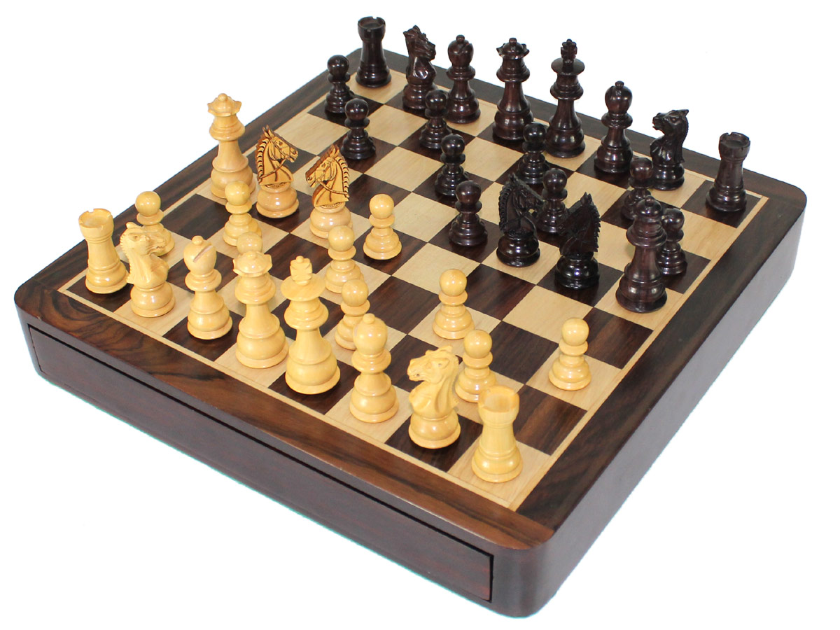 Travel Chess Set - Drawer Closed with Pieces on Top