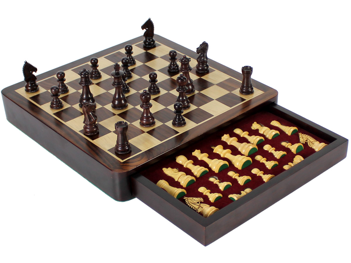 Side view of travel chess set - Drawer Open