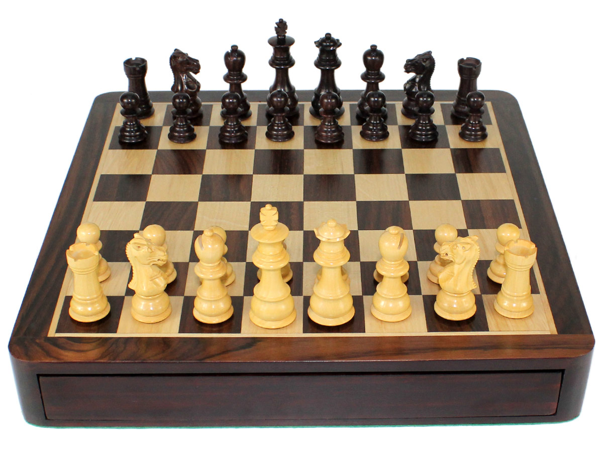 Front view of Travel Chess Set with Drawer closed